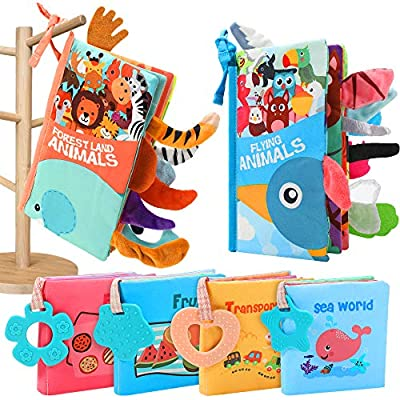 KOOMOVER Quiet Book Montessori Toys for Toddlers,[2+4 Pack] Soft Baby Book and Basic Skill Board Toddler Activities Busy Book for Toddlers 0-6 Months,6-12 Months,2,3,4 Year olds (6 Pack Cloth Books)
