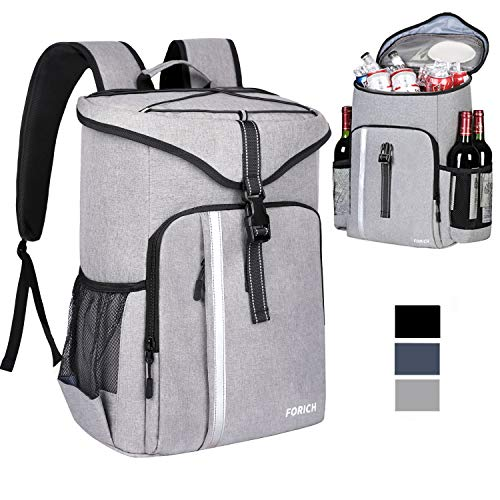 FORICH Cooler Backpack Insulated Backpack Cooler Bag Leak Proof Portable Soft Cooler Backpacks to Work Lunch Travel Beach Camping Hiking Picnic Fishing Beer Bottle for Men Women, 30 Cans (Grey)