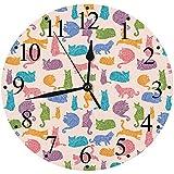 LUHUN Reloj de Pared Moderno,Trama de Fondo de patrón de Gatos coloridosreloj de Cuarzo de Cuarzo Redondo No-Ticking para Sala de Estar 30 cm
