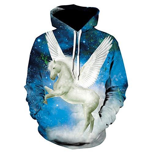 CHWEI Knitted Hat 3D Couples Hoodies Pegasus Illustration Sweat Pull Zipper O Neck Drôle Hommes Femmes Adulte Chandail Vêtements Manteau XXL