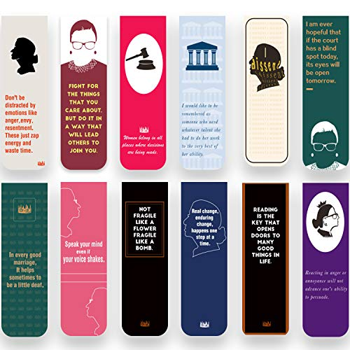 30 Pieces Ruth Bader Ginsburg Magnetic Bookmarks Encouraging Quotes Motivational Bookmarks for Women Positive Magnetic Page Clips Perfect for Book Lover Lawyer Judge Feminist Gifts (Magnetic)