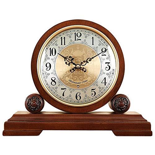 BGJK Table Reloj Despertador Reloj de Alarma Tabla de batería Reloj de la Sala de Estar Decoración Dormitorio Europeo Estilo Retro Mesa Creativa péndulo Marco de Metal