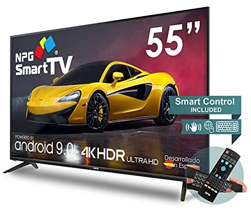 """NPG 530L55UQ 4K 2021 – 55""""4K UHD Smart TV con Mando con Teclado QWERTY y Función Motion, Android 9.0, Procesador Quad Core, WiFi, DVB-T2/C, PVR, Screen Mirroning, Smart TV multilenguaje"""