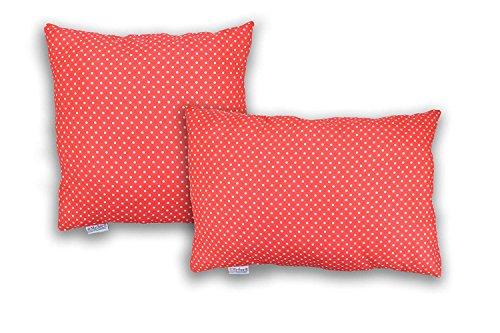 MERINO BETTEN Gepunktete Kissenbezüge, Kuschelkissen-Hülle, Kissenhüllen, Dekokissen mit Reißverschluss (weitere Größen und Farben verfügbar) (Rot gepunktet, 30 x 40 cm)