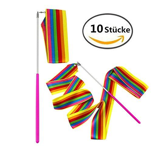 MUROAD 10 Stücke 2Meter Regenbogen Gymnastikband, Tanzband Turnband Rhythmikband Wirbelband Schwungband mit Stab, wirbelnden Rod Stick für Kinder Kunst Tanzt Ballett(Regenbogen)