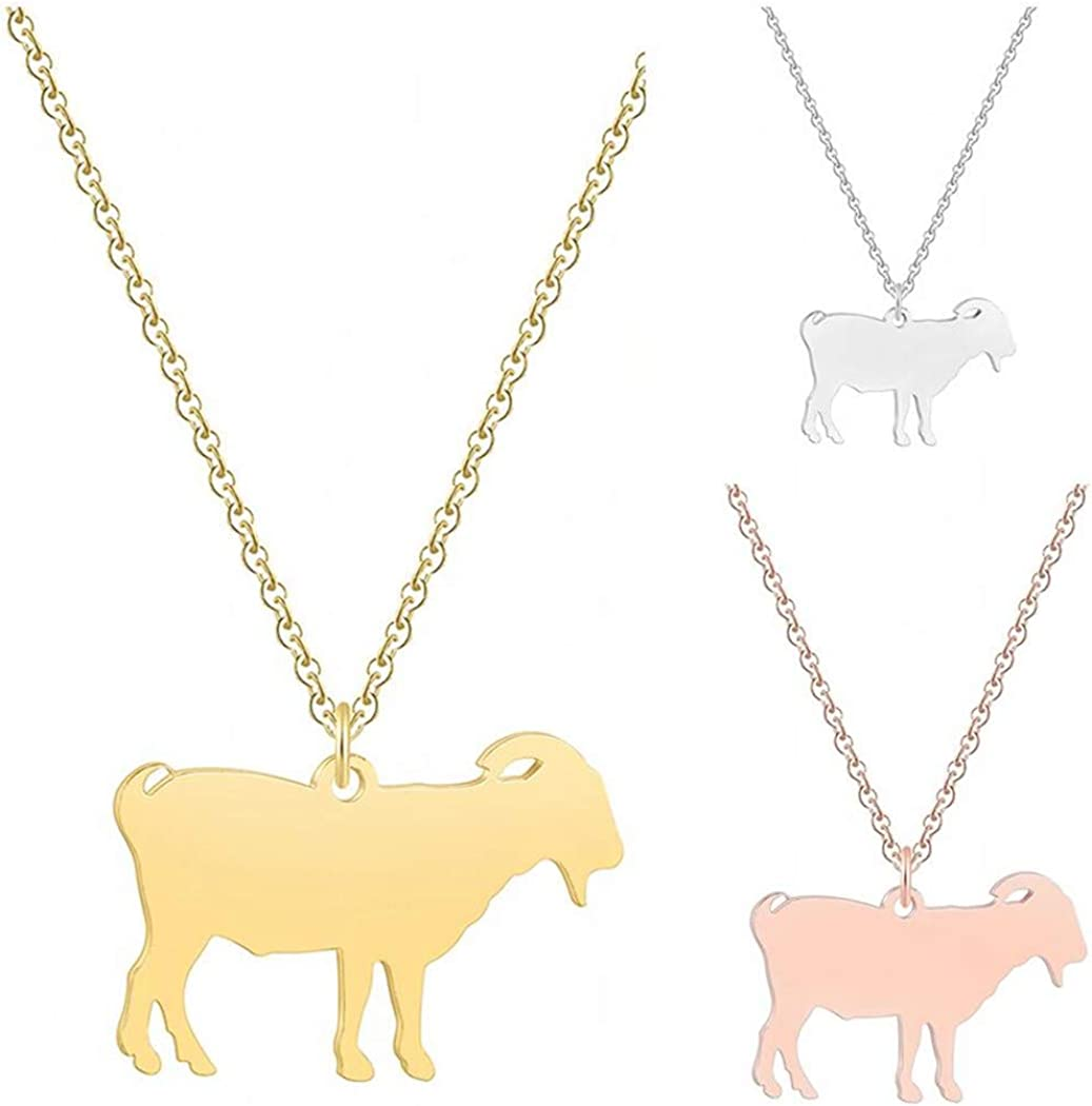 QIAMNI Funny Goat Pendant Necklace Collar Farm Animal Necklace Jewelry Party Gift Pet Lover Charm for Women Men