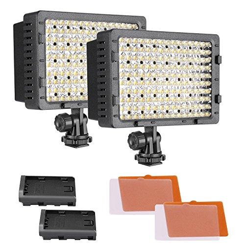 Neewer 2 Stück Dimmbare 216 LED-Videoleuchte mit 4 Farbfiltern (Weiß und Orange) für Canon, Nikon, Pentax, Panasonic, Sony, Samsung und Olympus DSLR-Kameras Camcorder