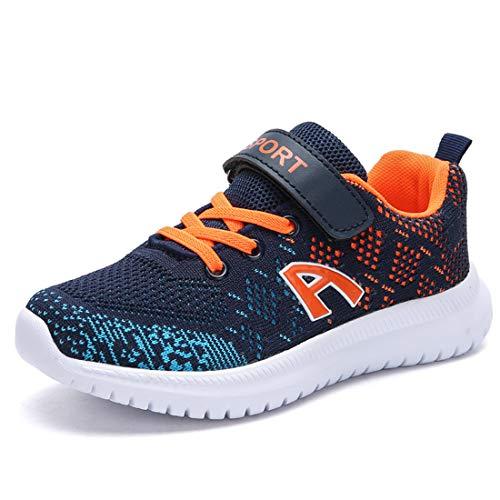 Unpowlink Kinder Schuhe Sportschuhe Ultraleicht Atmungsaktiv Turnschuhe Klettverschluss Low-Top Sneakers Laufen Schuhe Laufschuhe für Mädchen Jungen 28-37, Dunkelblau Orange-a, 29 EU