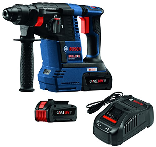 Bosch GBH18V-26K24 18V EC Brushless 1' SDS-plus Bulldog Rotary Hammer Kit with CORE18V 6.3 Ah Batteries