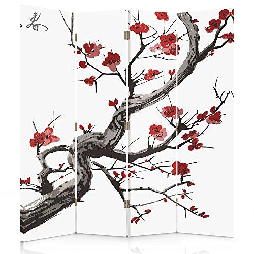 Feeby Frames Biombo Impreso sobre Lona, tabique Decorativo para Habitaciones, a una Cara, de 4 Piezas (145x180 cm), Cerezo JAPONÉS, Blanco, Rojo, Negro
