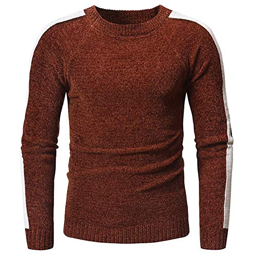 Men's Knitted Jumpers Basic Round Neck Sweatshirt Long Sleeve Solid Color Slim fit Sweater fine Knit Sweater Classic Style Pullover top with Shoulder Pleats Warm All-Match Sport top M
