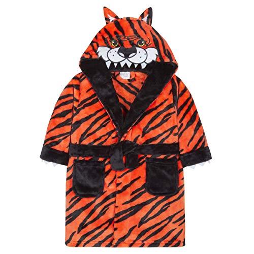 Style It Up Bademantel für Jungen/Kinder, weicher Plüsch, Fleece, kuschelig, warm, Geschenk 2-13 Gr. 2-3 Jahre, 3D-Tiger-Morgenmantel mit Kapuze, Orange