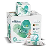 Diapers Size 2, 186 Count and Baby Wipes - Pampers Pure Protection Diapers and Aqua Pure 6X Pop-Top Sensitive Water Baby Wipes, 336 Count (Packaging May Vary)