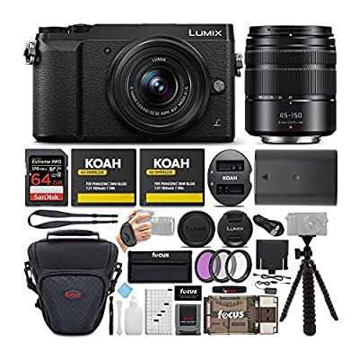 Panasonic LUMIX GX85 Mirrorless Camera (Black) Bundled with 12-32mm and 45-150mm Lenses, 64GB SD Card, and Accessory Bundle from Panasonic