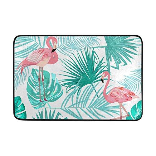 FFY Go Badteppich, Blatt mit Flamingo Print Rutschfeste Antischimmel-Einfach Dry Fußmatte Teppich für Dusche Raum Badezimmer Tür Indoor Outdoor 58,4x 38,1cm