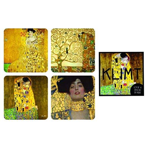 Klimt Set 4 Sottobicchieri, Cartone, 10 x 10 x 1 cm
