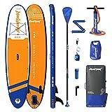 Aquaplanet 10ft 6' x 15cm MAX Stand Up Paddle Board kit. Air Pump with Pressure Gauge,Adjustable Aluminium Floating Paddle, Repair Kit,Heavy Duty Rucksack,Premium Leash & 4 Kayak Seat Rings