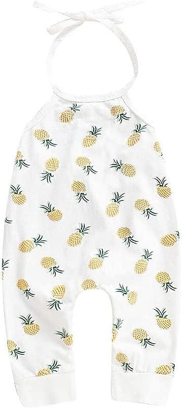 RoDeke Summer New Baby Girl Hanging Neck Strap Backless Fruit Banana Print Jumpsuit Set