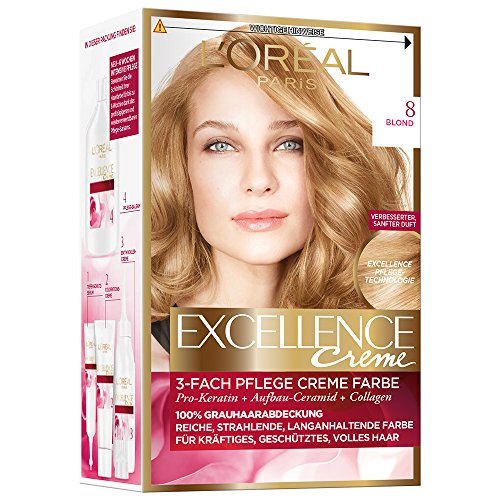 L'Oréal Paris Excellence Creme Coloration, 8 - Blond, Haarfarbe