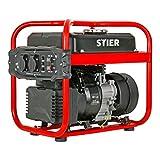 STIER Stromerzeuger SNS-200, Strom Generator, 10l Tankvolumen, 23 Kg, Stromerezuger leise mit 65 dB(A), 4-Takt Motor, Inverter Stromaggregat, mit Ölsensor, Laufzeit bis zu 10 Stunden, max. 2000 W