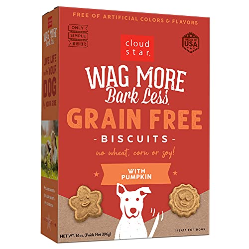 Cloud Star Wag More Bark Less Oven Baked Biscuits, Grain Free Crunchy Dog Treats, with Pumpkin -14 oz.