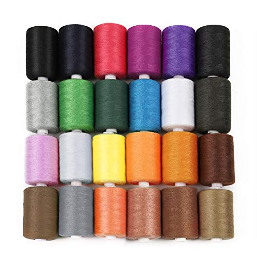 HAITRAL Sewing Thread Sets - 24-Color Spools Thread Mixed Cotton, 1000 Yards Sewing Kits Thread for Sewing Machine, DIY Sewing