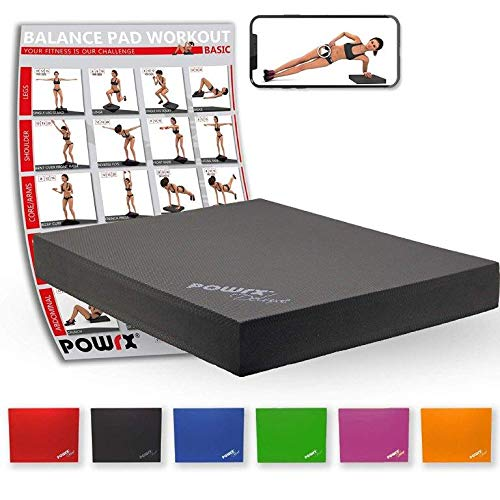 POWRX Balance Pad 40x34x5 cm inkl. Workout Ideal zum Training von Gleichgewicht, Stabilität und Koordinationstraining Versch. Farben (Schwarz)