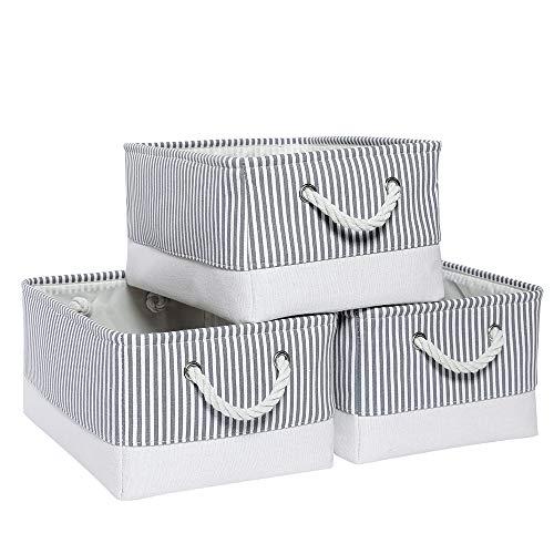 Mangata Aufbewahrungsboxen, offener Aufbewahrungskorb, offene Organizer für Kleiderschrank, Schrank, Wäsche 3er Pack (Grauer Streifen, Medium)