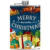 Petaca de acero inoxidable de 8 onzas, frascos para licor con embudo de regalo de Navidad y trineo de Papá Noel