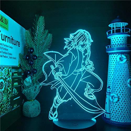 Lámpara de ilusión 3D Giyu Tomioka Demon Slayer Anime7 colores que cambian la decoración de la fiesta de la barra del hogar Regalos de vacaciones para niños-16 color remote control