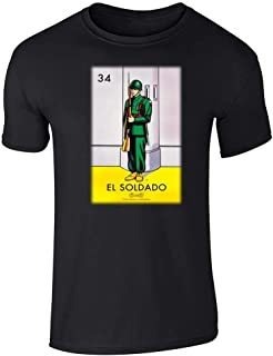 El Soldado Soldier Loteria Card Mexican Bingo Graphic Tee T-Shirt for Men