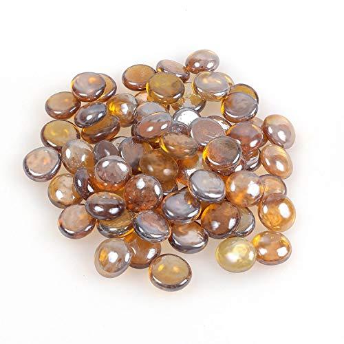 Glänzender, reflektierender Feuerglas-Kies, Feuersteine oder Perlen für Feuerstellen, Aquarien, Sukkulenten oder als Gartendekoration, 17-19 mm, 335 g. Light Amber