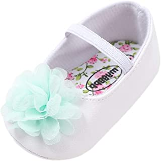 Baby Girl Shoes, Big Flower PU Leather Mary Jane Shoes Soft Sole Non-Slip First Walkers Princess Shoes