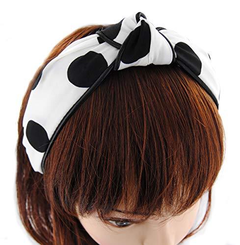 axy Breiter Haarreif Serie mit großen punkte Hair band Stirnband HR34P (Weiss mit Schwarzen Punkten)
