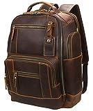 Lannsyne Men's Vintage Full Grain Leather 15.6 Inch Laptop Backpack Camping Travel 24L Rucksack