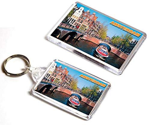 AWS Set 2 Pezzi Magnete + Portachiavi Amsterdam Olanda Holland Souvenir calamita Fridge Magnet Magnete da frigo in plastica con Immagine Fotografica Città Paesi Bassi Key Ring