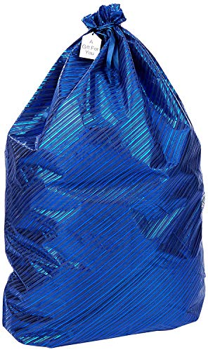 K-Kraft Jumbo Gift Wrap Bag, Hanukkah, Valentine's, Christmas, Birthday (Festive Blue Stripes, 26 x 35.5 inches)