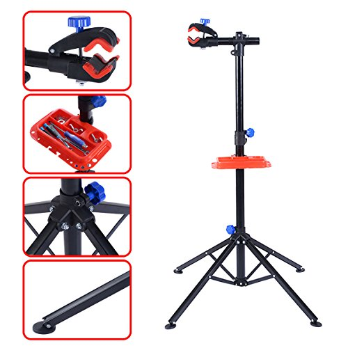 S AFSTAR Pro Mechanic Bike Repair Stand Adjustable 41' to 75' Cycle Rack Bicycle Workstand Tool Tray