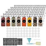 AIKKIL Botellas de especias de 100 ml. Tarros cuadrados vacíos. Tapa coctelera y tapas de metal herméticas. Embudo de silicona plegable incluido (48 unidades).