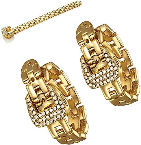 Anillo de hebilla ajustable de moda, Hebilla de cinturón de cristal de cadena suave de metal, Banda de apilamiento ajustable chapada en oro Anillo ajustable Anillo de moda Joyería femenina, (2PCS)