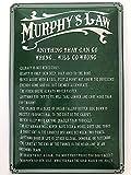 Cartel de metal 20 x 30 cm, Murphy's Gesetz Law Anything