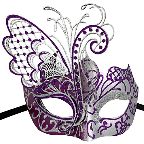 Xvevina Masquerade Mask for Women Shiny Glitter Venetian Pretty Party Evening Prom Mask (Butterfly Silver&Purple)