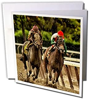3dRose two horses and jockeys racing to finish line, mud flying. - Greeting Cards, 6 x 6 inches, set of 12 (gc_98373_2)