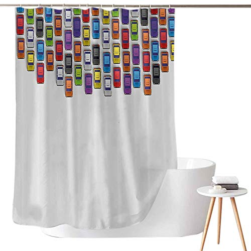 Washable Polyester Shower Liner Traffic Jam with Bunch of Cars Automobiles Urban Life Downtown Artsy Illustration W69 x L72 3D Printed Shower Curtain