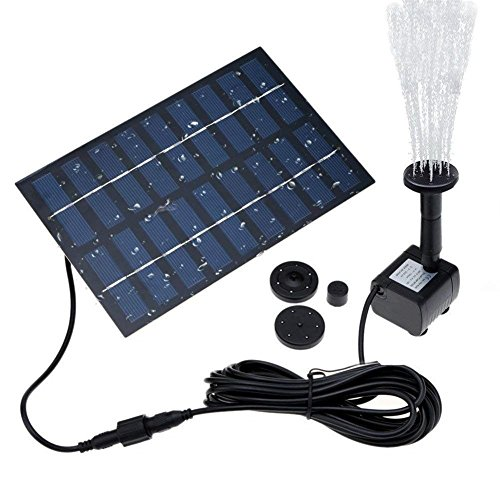 COSSCCI 1.8W Solar Fountain Water Pump for Bird Bath Solar Panel Kit Outdoor Fountain for Small Pond, Pool,Patio Garden (Square)