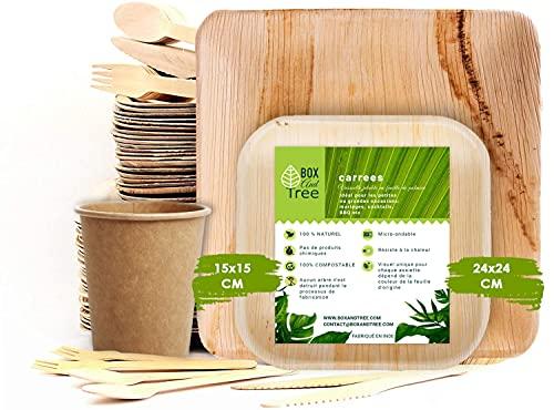 Box and tree | 150 Pièces de Vaisselle jetable, 50 Assiettes en Feuille de Palmier, Set de 25 Couverts Fourchettes+Couteaux+Cuillères + 25 Gobelets en Carton Jetable | Biodegradable 100%