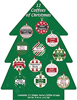 K Cup Coffee Christmas Gift 12 Single Serve Keurig Variety Sampler Assortment- Winter, Holidays Christmas Gourmet Gift Box Set - Best Xmas Present Idea/Stocking Stuffer For Coffee Lover In Xmas Tree.