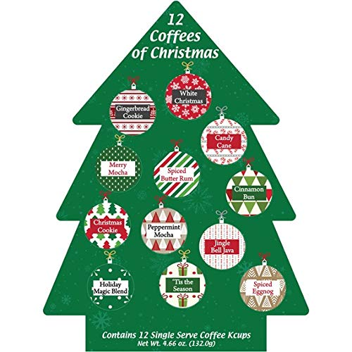 K Cup Christmas Coffee Gift 12 Single Serve Keurig Advent Calendar Variety Sampler Assortment- Holiday Christmas Gourmet KCup Gift Box Set - Best Xmas Present Idea/Stocking Stuffer For Coffee Lover