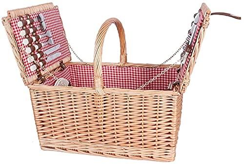 Cesta de picnic 4 personas Cesta de picnic con cesta cubierta con tapa Cesta pequeña salvaje (color: beige, tamaño: 473223cm)