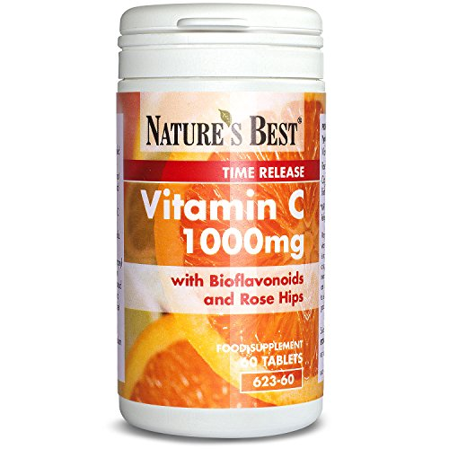 Vitamin C 1000mg – 60 Vegan Tablets – Up to 2 Month's Supply - Advanced Time Release Formula with Rosehips and Bioflavonoids – Popular Vitamin - High Strength and Long Lasting – UK Made